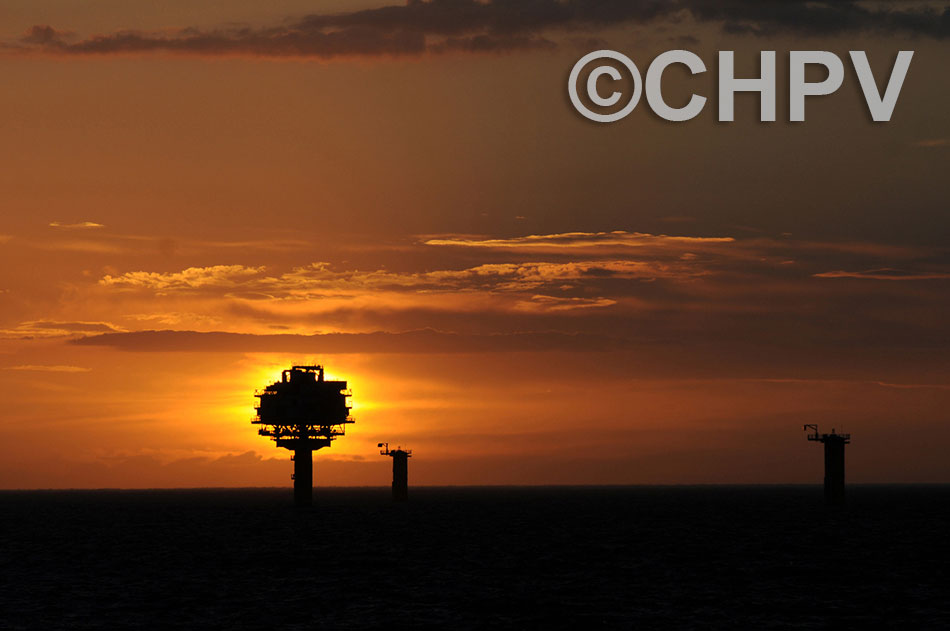 sunset behind the offshore substation at sheringham shoal